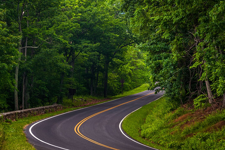 curved road in Shenandoah National Park, Virginia