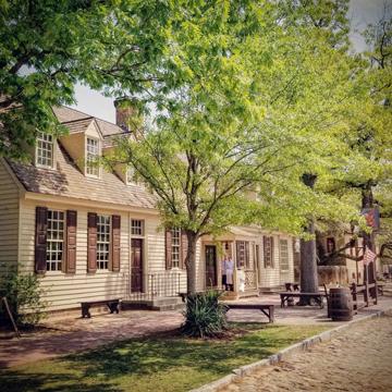 street and sidewalk in Colonial Williamsburg, Virginia